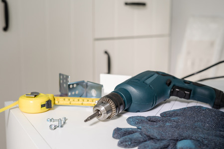 Electric tools and equipment diy instrallation kitchen at new home 스톡 콘텐츠