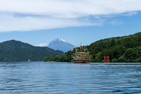 Hakone shrine with sightseeing cruise and mt.Fuji at  lake Ashi, Japan
