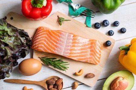 Healthy eating food low carb, Ketogenic diet concept Banco de Imagens
