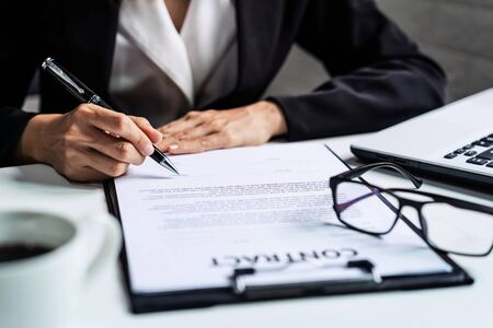 Young Businesswoman signing contract, Partnership Successful deal after meeting