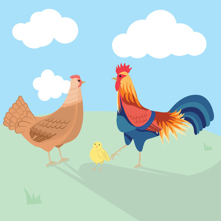 Rooster hen and chick 免版税图像 - 111482813