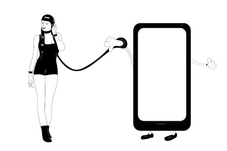 Minimalistic view of the effects of tehnology and social media on a modern millennial Illustration