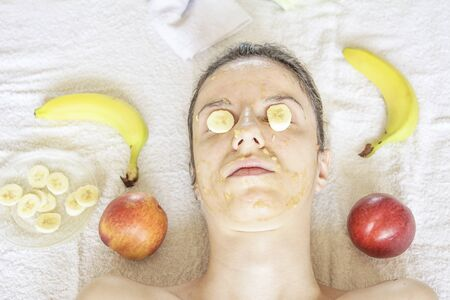 A diy mask with banana, coconut sugar and honey for hydration during winter season