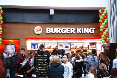 19 December 2019-Bucharest, Romania. The opening of the Burger King full of people