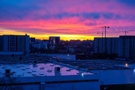 The sunrise view over the capital city Bucharest, Romania Banco de Imagens