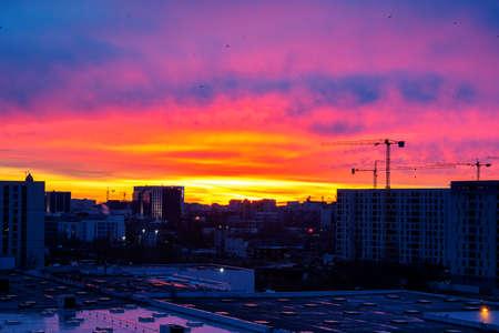 The sunrise view over the capital city Bucharest, Romania