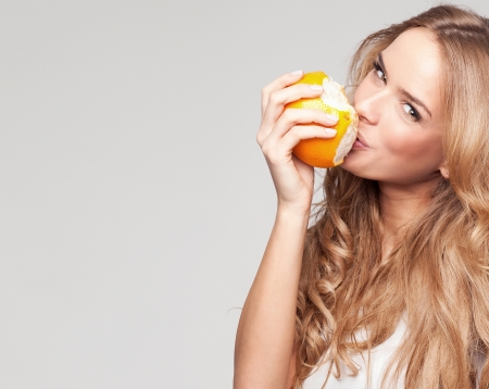 sappy: Portrait of a young beautiful woman with orange