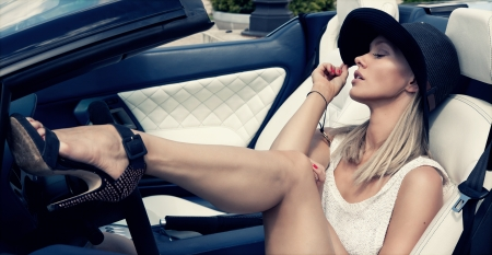 sexy woman car: Sexy lady in the sport car