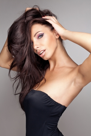 attractive female: Portrait of beautiful brunette woman