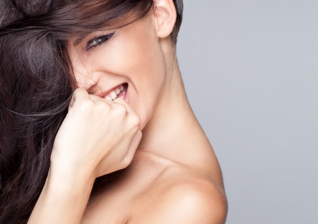 hair spa: Portrait of beautiful smiling woman Stock Photo