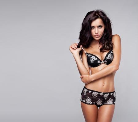lingerie model: Beautiful brunette woman in underwear