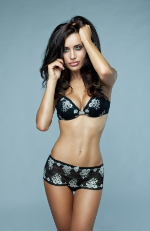 sexy blonde girl: Beautiful brunette woman in underwear