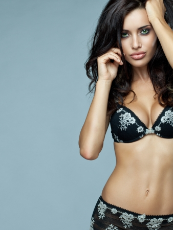 Beautiful brunette woman in underwear photo