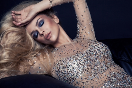 vogue: Sexy blonde woman with winter makeup