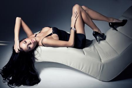 Fashion portrait of beautiful brunette woman  photo