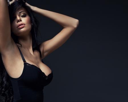 adult sexy: Fashion portrait of beautiful brunette woman
