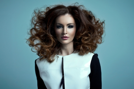 hair highlights: Vogue style portrait of beautiful delicate woman  Stock Photo