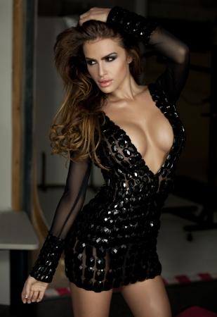 windblown: Fashion portrait of beautiful brunette woman
