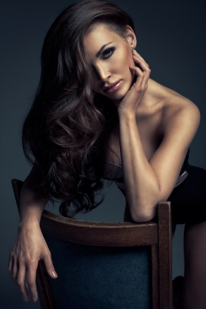 hair black color: Portrait of perfect Makeup  Beautiful sexy woman with long Hair