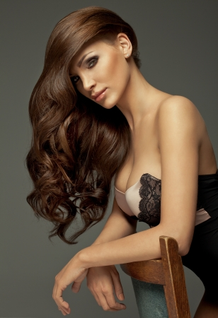 Portrait of perfect Makeup  Beautiful sexy woman with long Hair  photo