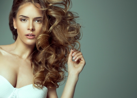 Fashion of blonde beauty with natural make-up  photo