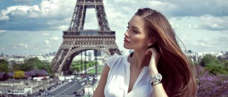 Paris'te güzel bir kadın Stock Photo