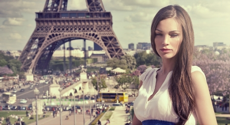 Beautiful woman in Paris photo