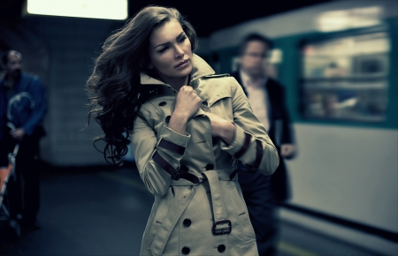 Young woman waiting on the train  photo