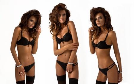 triple: collage of fashion model