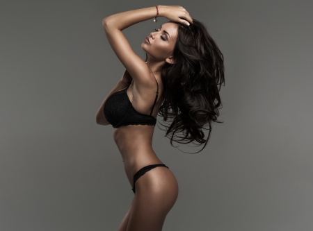 black: Sensual woman with beautiful body