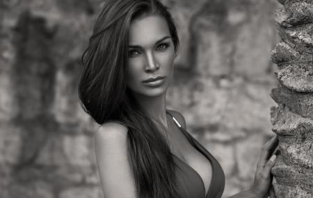Black and white portrait of female model with amazing eyes photo