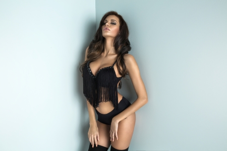 black lingerie: Brunette beauty in black underwear