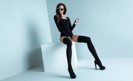 stockings woman: Rrefined woman wearing black stockings