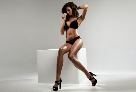 hand bra: Sexy brunette  Stock Photo