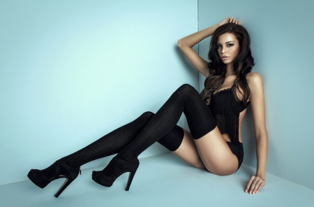 bra model: Woman with long legs