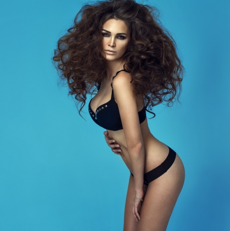 Brunette woman with fashion hairfo photo
