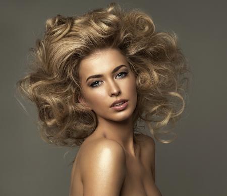 model art: Portrait of blond woman with curls