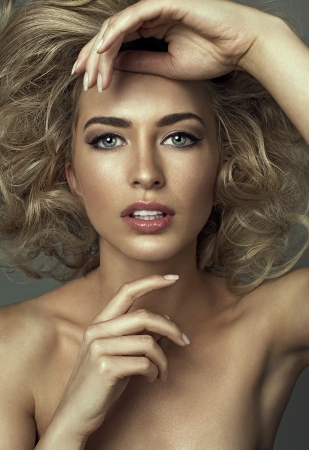 Fashion portrait of sensual woman with clean and freash skin photo