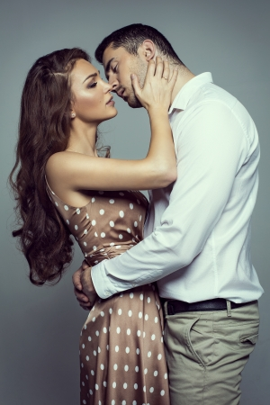 Young kissing couple  photo