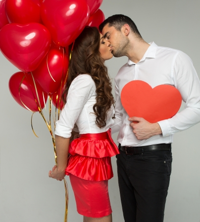 Valentines photo of kissing couple Standard-Bild