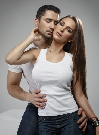 Sensual couple in studio photo