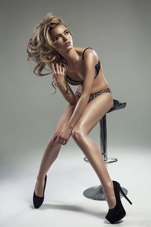 Fashion shoot of a beautiful blond woman  photo
