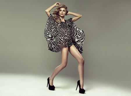 Fashion shoot of young blond woman