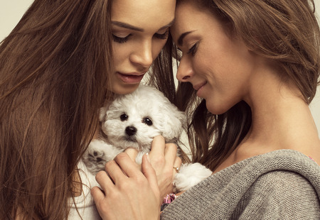 sister: Beautiful women with a cute puppy Stock Photo