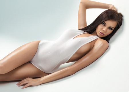 Büyük göğüs ile seksi modeli Stock Photo