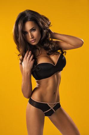 Portrait of attractive brunet beauty photo