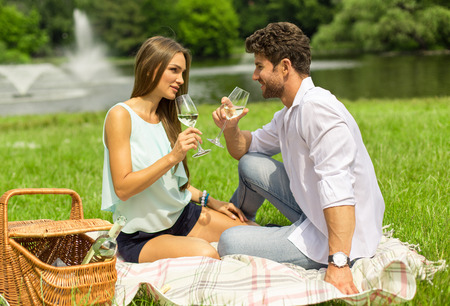 Young attractive couple on date photo