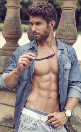 life jackets: Fashion man posing outdoor Stock Photo