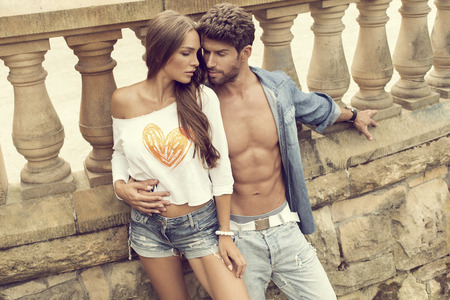 Attractive couple in love posing