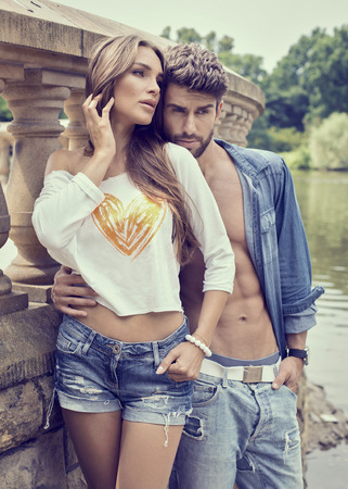 Fashion couple posing